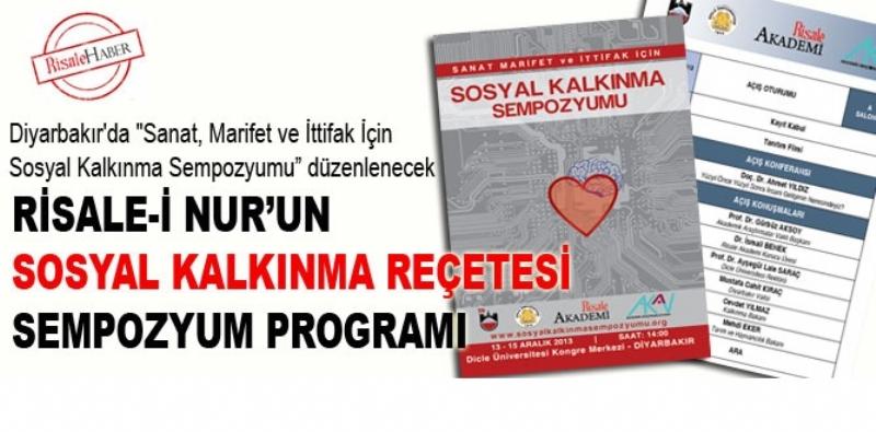 Diyarbakır'da düzenlenecek olan Sanat, Marifet ve İttifak İçin Sosyal Kalkınma Sempozyumunun programı